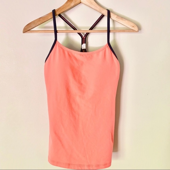 Lululemon Power Y Tank Coral with Gray Straps
